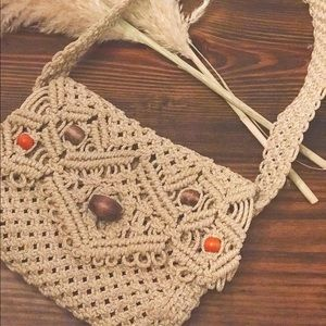 Wooden beaded crochet bag with floral liner